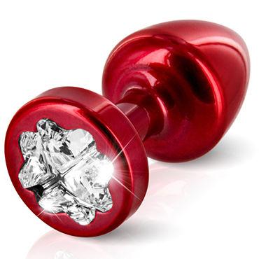 Diogol Anni Clover T2, красная Анальная пробка с кристаллом Swarovski в форме клевера diogol anni round t2 фиолетовая анальная пробка с кристаллом swarovski