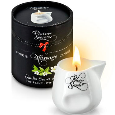 Plaisirs Secrets Massage Candle White Tea, 80мл Свеча массажная Белый чай свеча candle cucumber water