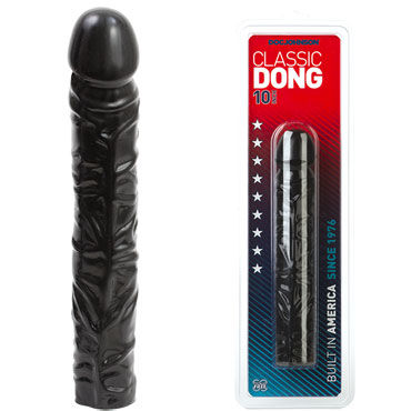 Doc Johnson Classic Dong 25 см, черный Реалистичный фаллоимитатор luxe шоковая терапия презервативы с усиками