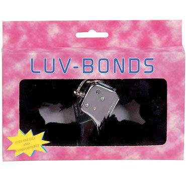 Gopaldas Luv-Bonds, черные Наручники с мехом sportsheets satin and lace lovers kit красно черные сатиновые наручники и маска