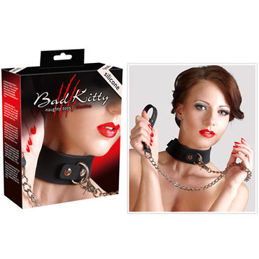 Bad Kitty Silikon-Halsband mit Leine, черный Ошейник с поводком pipedream clit pump помпа для клитора