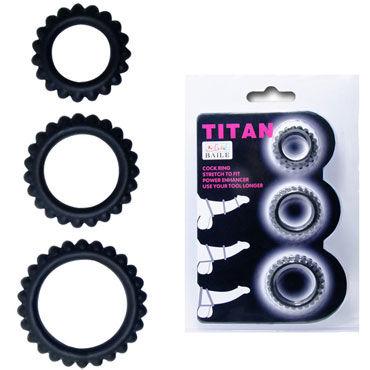 Baile Titan Cock Ring, черный Набор из 3х ребристых эрекционных колец эрекциональные кольца на член диаметр 3 4 см