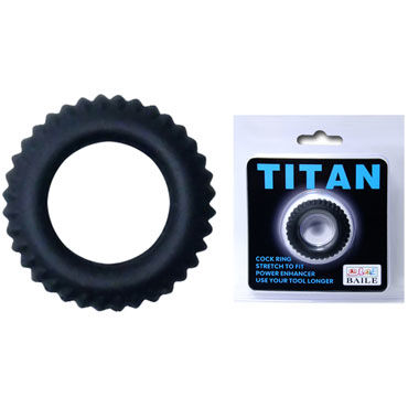 Baile Titan Cock Ring, черное Эрекционное кольцо с ребрышками adonis extension clear прозрачная удлиняющая насадка с рельефом