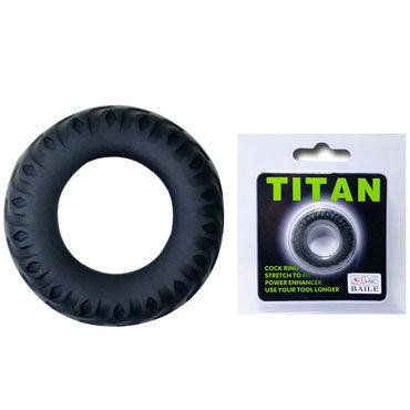 Baile Titan Cock Ring, черное Эрекционное кольцо в виде автомобильной шины system jo premium jelly light 120 мл концентрированный лубрикант на силиконовой основе легкая текстура