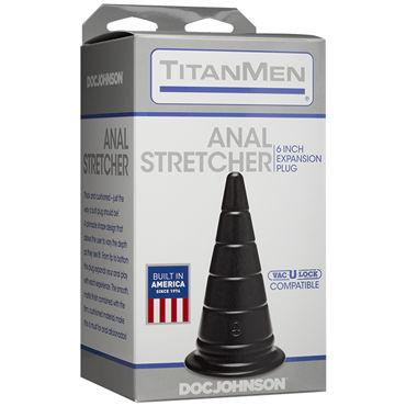 Doc Johnson TitanMen Anal Stretcher 15см, черная Анальная пробка в форме пирамиды doc johnson kink solid anal balls черная анальная цепочка из 4 шариков