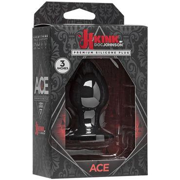 Doc Johnson Kink Ace Silicone Plug 7,5см, черная Анальная пробка классической формы анальная цепочка doc johnson kink solid anal balls 13 черный
