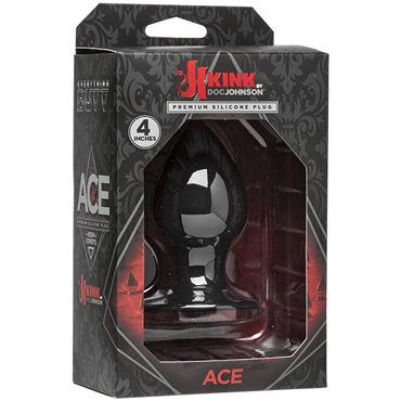 Doc Johnson Kink Ace Silicone Plug 10см, черная Анальная пробка классической формы doc johnson butt plug large черный анальная пробка с гладкой поверхностью