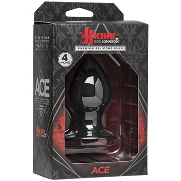 Doc Johnson Kink Ace Silicone Plug 10см, черная Анальная пробка классической формы doc johnson black rose forbidden flower мягкий кляп