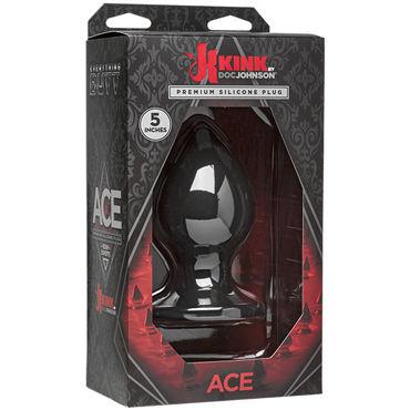Doc Johnson Kink Ace Silicone Plug 13см, черная Анальная пробка классической формы elasun ультратонкие презервативы 3 шт в коробке