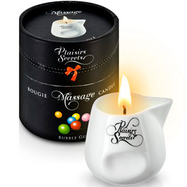 Plaisirs Secrets Massage Candle Bubble Gum, 80мл Свеча массажная Bubble Gum plaisirs secrets massage candle pomegranate 80мл свеча массажная спелый гранат