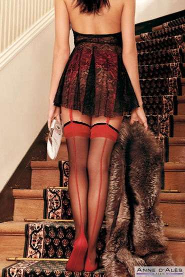Anne d'Ales Flora Stockings, красные Чулки с усиленным следком lolitta boudoir stockings черные чулочки с кисточками