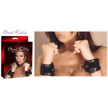 Bad Kitty Handcuffs, черные Мягкие наручники soft line пояс для чулок и стринги черные с цветочным орнаментом
