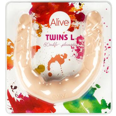 Alive Twins size L, телесный Двусторонний фаллоимитатор двусторонний фаллоимитатор розовый