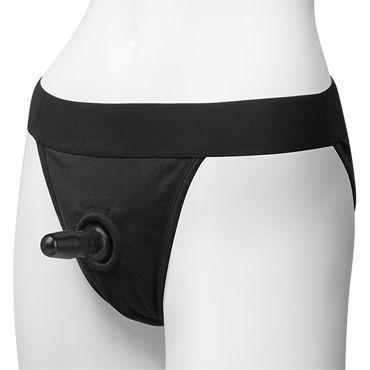 Doc Johnson Vac-U-Lock Panty Harness with Plug, черные Трусики со штырьком для насадок doc johnson sexy soldier костюм сексуальный солдат со страпоном