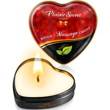 Plaisirs Secrets Massage Candle Heart Nature, 35мл Свеча массажная натуральная plaisirs secrets massage oil caramel 59мл массажное масло карамель