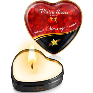 Plaisirs Secrets Massage Candle Heart Vanilla, 35мл Свеча массажная с ароматом Ваниль plaisirs secrets massage oil caramel 59мл массажное масло карамель