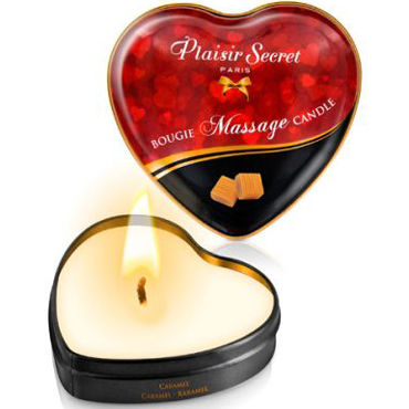 Plaisirs Secrets Massage Candle Heart Caramel, 35мл Свеча массажная с ароматом Карамель plaisirs secrets massage oil exotic fruits 59мл массажное масло экзотические фрукты