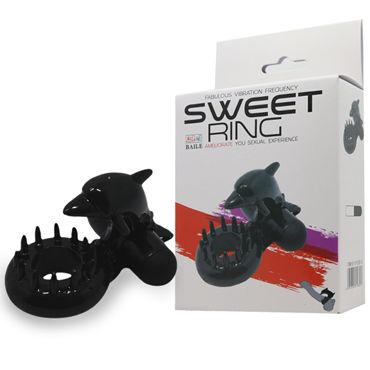 Baile Sweet Vibrating Sweet Ring Дельфин, черное Эрекционное виброкольцо игра алиса в стране фетиша