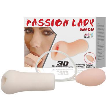 """Baile Passion Lady Marcia 3D dimensional Vagina, телесный Мастурбатор вагина с грушей, с имитацией 3D вакуума california exotic posh silicone """"o"""" beads оранжевый две анальные цепочки"""