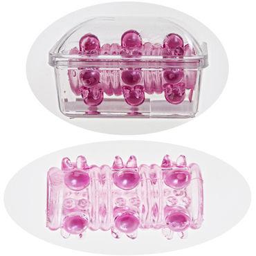 Sextoy Насадка розовый Насадка на пенис с текстурной поверхностью soft line комплект черный длинная комбинация и стринги