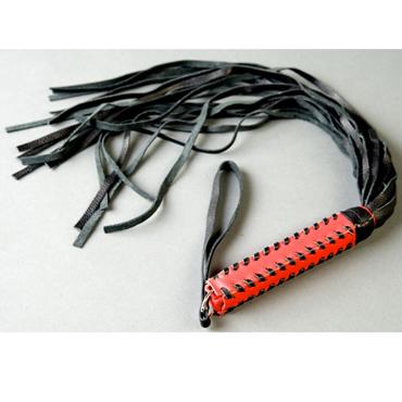 Podium Флоггер с плетенной ручкой, красно-черный 18 полос хромовой мягкой кожи podium пояс верности красно черный с замочком и ключами