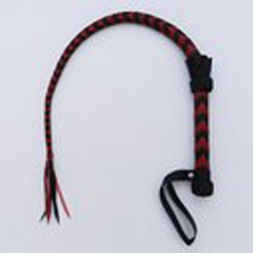 Podium Плеть однохвостая, черно-красная С узлом и хлопушкой на конце массажер простаты без вибрации bad kitty