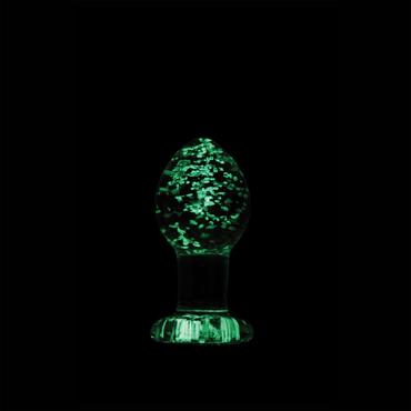 NS Novelties Firefly Glass Plug Medium, светящаяся в темноте Стеклянная анальная пробка классической формы ns novelties booty pops розовая анальная пробка