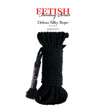 Pipedream Fetish Fantasy Series Deluxe Silky Rope, черная Веревка для фиксации fetish fantasy series gold nipple bull rings package of 6