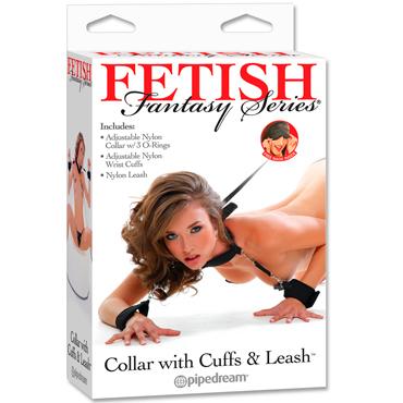 Pipedream Fetish Fantasy Series Collar with Cuffs and Leash, черный Ошейник с наручниками и поводком