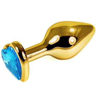Mif Анальная пробка, золотая С голубым кристаллом в форме сердца mif анальная пробка серебристая с прозрачным кристаллом в форме сердца