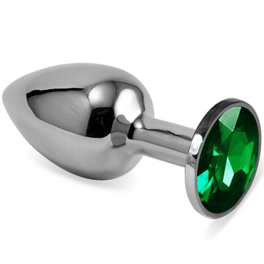 Mif Анальная пробка, серебристая С зелёным кристаллом toyfa metal малая анальная пробка серебристая тяжелая с кристаллом цвета рубин