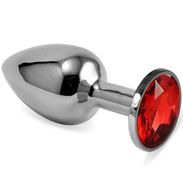 Mif Анальная пробка, серебристая С красным кристаллом mif анальная пробка серебристая с голубым кристаллом