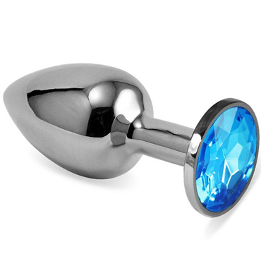 Mif Анальная пробка, серебристая С голубым кристаллом пикантные штучки большая анальная пробка серебристая с розовым кристаллом