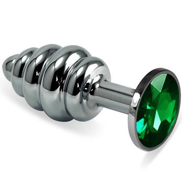 Mif Спиральная анальная пробка, серебристая С зелёным кристаллом toyfa metal малая анальная пробка серебристая тяжелая с кристаллом цвета рубин