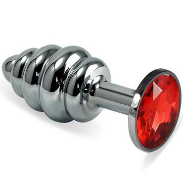 Mif Спиральная анальная пробка, серебристая С красным кристаллом гель смазка контекс wave 30 мл увлажняющая с пантенолом