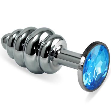 Mif Спиральная анальная пробка, серебристая С голубым кристаллом mif анальная пробка серебристая с голубым кристаллом