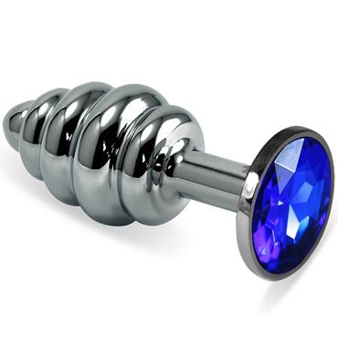 Mif Спиральная анальная пробка, серебристая С синим кристаллом kanikule малая анальная пробка серебристая с темно зеленым кристаллом