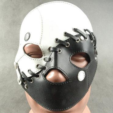 Beastly Маска сборная, черно-белая С 3-мя вариантами ношения маска из натуральной кожи красная