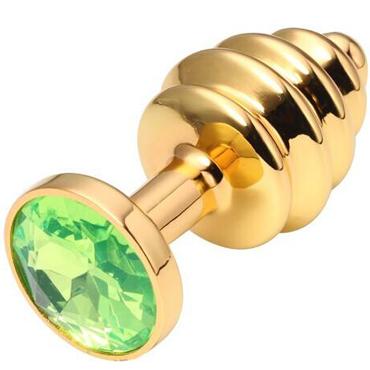 CanWin Ребристая анальная пробка, золотой/зеленый С кристаллов в основании sexus фаллоимитатор 14 5 см прозрачный состоит из шариков спиралевидный узор