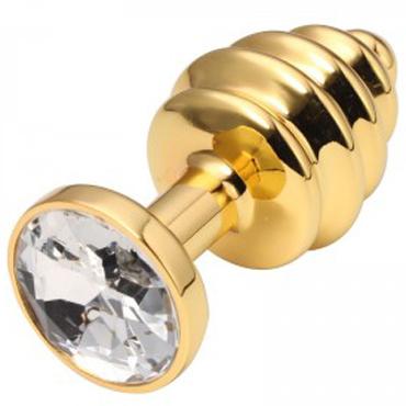 CanWin Ребристая анальная пробка, золотой/прозрачный С кристаллов в основании анальная пробка ребристая gold с розовой вставкой в коробочке