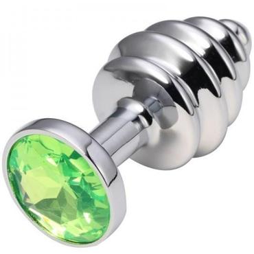 CanWin Ребристая анальная пробка, серебристый/зеленый С кристаллов в основании анальная пробка ребристая gold с розовой вставкой в коробочке
