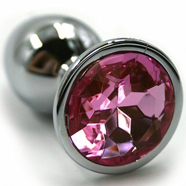 Funny Steel Anal Plug Medium, серебристый/розовый Анальная пробка с кристаллом т накладки на соски цвет серебристый