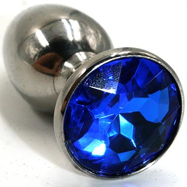 Funny Steel Anal Plug Medium, серебристый/синий Анальная пробка с кристаллом funny steel anal plug small серебристый фиолетовый анальная пробка с кристаллом