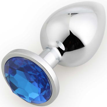 Runyu Rosebud Butt Plug Large, серебристый/синий Большая анальная пробка с кристаллом runyu rosebud butt plug medium синий синий анальная пробка среднего размера