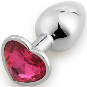 Runyu Anal Plug Heart Shape Small, серебристый/ярко-розовый Малая анальная пробка с кристаллом в форме сердца funny steel anal plug zi серебристый розовый анальная пробка с кристаллом в форме сердца