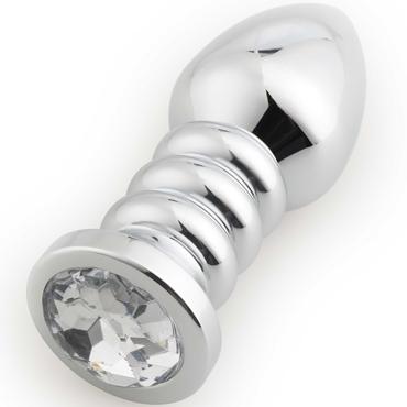 Runyu Thread Butt Plug, серебристый/прозрачный Анальная пробка с ребрами и кристаллом