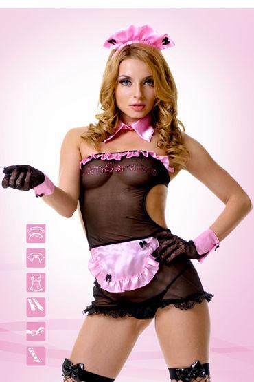 Le Frivole Секси Горничная Платье, головной убор, воротник, манжеты, перчатки и чулки casmir linda corset