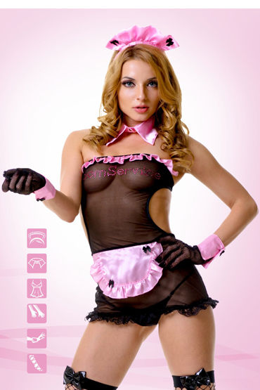 Le Frivole Секси Горничная Платье, головной убор, воротник, манжеты, перчатки и чулки shiatsu pheromone man 25мл духи с феромонами для мужчин