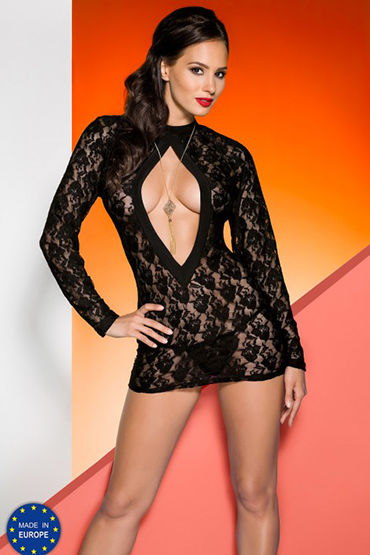 Avanua Rayen Black Сорочка с длинными рукавами и трусики эротическое боди женское avanua rayen цвет красный 03579 размер s m 42 44