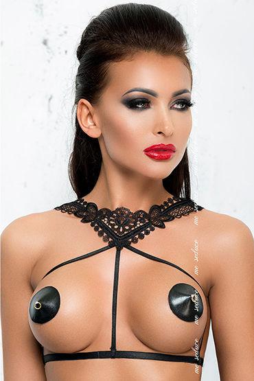 Me Seduce Портупея Harness 4, черная С кружевным воротничком портупея черная с зеркальными элементами bella black